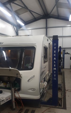 caravan in workshop image